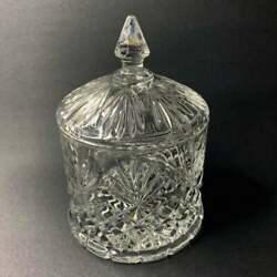 Vintage Lead Crystal Lidded Biscuit Cookie Candy Jar Container Canister