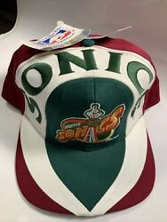Vintage Snapback Hat Seattle Sonics Supersonics New W/ Tags Deadstock Spell Out