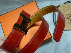 Hermes Belt H Gold Buckle Red Camel Reversible Leather Size 75 Authentic