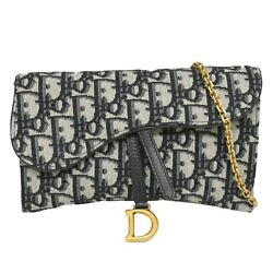 Christian Dior Trotter Canvas Chain Shoulder Crossbody Wallet Purse Navy Gold Cd