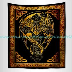 bedroom cabinets dragon cross celtic pagan hippie wall tapestry