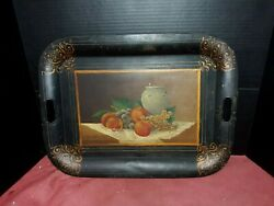 Antique American Painting Fruit Still Life On Tole Tray Toleware Fine Americana