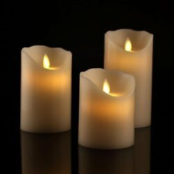 BRAZING CANDLES LED Candle Set of 3 Ivory Flameless with remote and timer