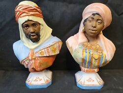 Rare Pair Painted Bisque Porcelain Arabian Man Woman Bust Mauger And Fils 1880 Set