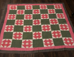 Antique Pa. Monkey Wrench Quilt Pink Amf Green Ca. 1900