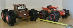 Disney Cars Ridemakerz Mcqueen And Tow Mater Rare Pullback And Go Suv Bogger Tires