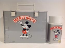1980's Silver Mickey Mouse Flip Top Zojirushi Lunch Box And Thermos From Japan