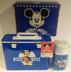 1980's Blue Mickey Donald Flip Top Zojirushi Lunch Box With Thermos From Japan