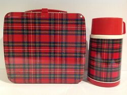 1980's Vintage Plaid Japanese Metal Lunch Box With Thermos From Japan Rare