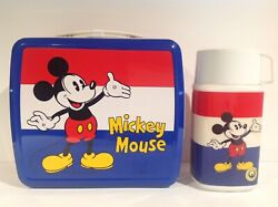 1980's Mickey And Minnie Mouse Zojirushi Lunch Box And Thermos From Japan Rare