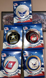 3 1/4 Military Ornaments Set Of 5 Air Force Marines Army Navy Coast Guard New