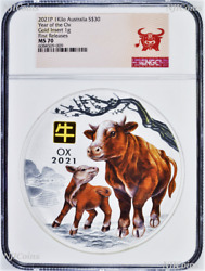 2021 Lunar Year Of The Ox 1 Kilo Silver 30 Coin Ngc Ms70 W/ Gold Privy Mark