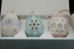 Nwt Lenox Eyelet Easter Lace Ornaments New In Original Box Retail 100