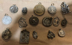 Estate Lot Of 16 Antique And Vintage Religious Silver And Other Medals.