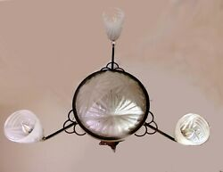 French Degue Compiegne Art Deco Frosted Glass Chandelier Light Fixture 37