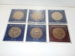 6 X New Zealand Commemorative One Dollar Coins1969 -1977 In Perspex Case