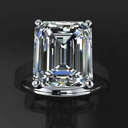 Solitaire Engagement Ring14k White Gold Finished 6.00 Ct Emerald Cut Moissanite