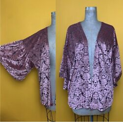 Bobeau Floral Burnout Robe Top W/ Bell Sleeves