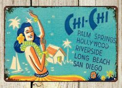 bedroom design Chi Chi Club Palm Springs 1940s metal tin sign