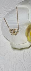 And Co 18k Rose Gold Diamond Butterfly Garden Pendant Necklace 16/18