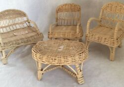 Vintage 7 Doll 4 Pc Wicker Outdoor Patio Furniture Chair Loveseat Table