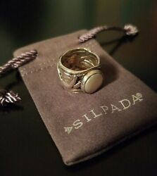Silpada Sterling Silver Coin Pearl Mermaid Ring Size 6 R1542