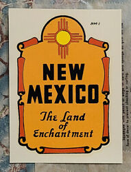 Early 1950and039s New Mexico Travel Water Decal Vintage Auto Luggage Camper Old Car
