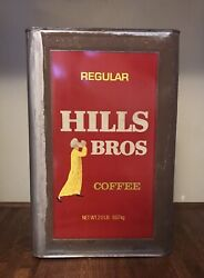 Vintage 20 Lb Large Extra Regular Hills Bros Coffee Food Advertising Can W/ Lid
