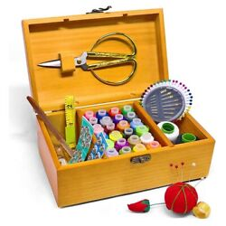 10xsewing Box Sewing Basket With Kit Accessories Vintage Wooden Organizer