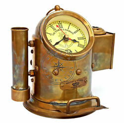 Vintage Antique Brass Gimbal Style Desk Clock Nautical Maritime With Pen Holder