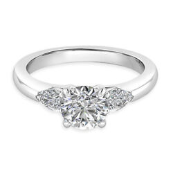 Round Cut 0.84 Ct Real Diamond Engagement Ring 14k White Gold Size 5 6 7 8