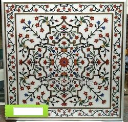 Marble Dinning Table Top Pietra Dura Art Hallway Table Intricate Work