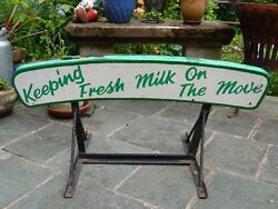 Vintage Milk Float Keeping Fresh Milk On The Move Wooden Sign Metal Base Stand