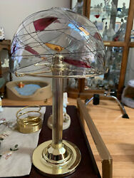 Partylite Mosaic Glass Gold Hot Pink Globe Brass Lamp Candle Holder