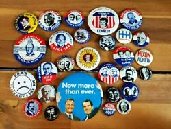 28 Political Button Lot Kennedy Ike Nixon And More - Kleenex Tissues '68