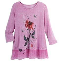 Jess And Jane Women's Pink Rose Floral Print Tunic Top 3/4 Sleeves Knit Shirt