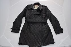 Black Quilted Leather Button Belted Biker Jacket Trench Coat Uk12 Us10