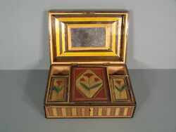 Antique Boxset Box In Marquetry Of Straw Pattern Town Port Fantasy France