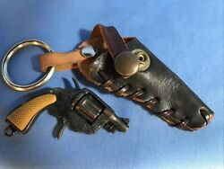 Vintage 1980 Mini Cap Gun Miniature Key Chain Toy Made In Hong Kong With Holster