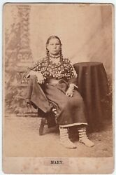 Rare Orig Cabinet Photo Native American Girl - Mary By D. F. Barry 1875 Indian