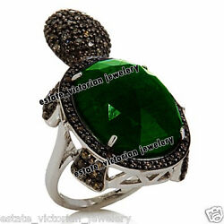 3.71cts Rose Cut Diamond Emerald Studded Silver Victorian Tortoise Ring Jewelry