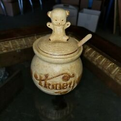 Vintage Pottery Craft Honey Bear Pot Handcrafted Stoneware W/dipper And Cheese