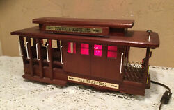 Vintage Retro Wooden San Fransisco Trolley Car Table Top Lamp