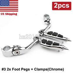 Spike 1-1/4 Highway Male Mount Foot Pegs Engine Guard Mounts Clamps Motorcycle