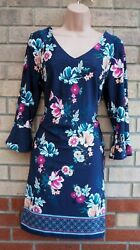 FLORENCE FRED BLUE PINK FLORAL FLARE LONG SLEEVE SHIFT TUNIC MINI DRESS 14 L GBP 19.99