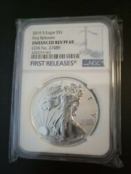 2019 S Enhanced Reverse Proof Silver Eagle 19xe, Ngc Pf69 First Release