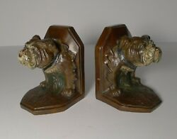 Pair Antique Cold Painted Bronze Bookends - Bulldog