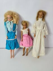 Vintage Style Set Of Three Barbie Dolls Clothes Handmade Multicolor Outfits Rare