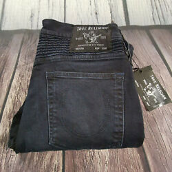 Menand039s True Religion Jeans 32 X 32 Rocco Moto Skinny Leg Navy Blue Rrp Andpound199 Bnwt