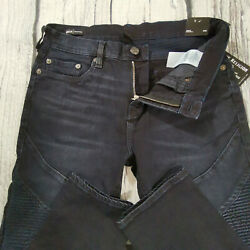 Menand039s True Religion Jeans 34 X 32 Rocco Moto Skinny Leg Navy Blue Rrp Andpound199 Bnwt